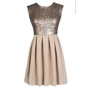 Ya Los Angeles Gold Sequin Sparkle Top Dress Sz Sm